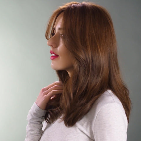 Temperament Light Brown Shoulder Wavy Wig