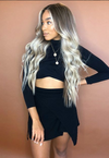 Goddess Linen Grey Gold Long Curly Wig
