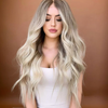 Glamour Gradient Light Gold Long Roll Wig
