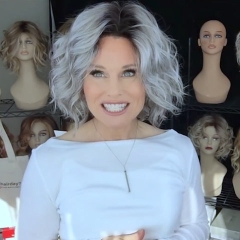 Gradient Silver Gray Roll Wig