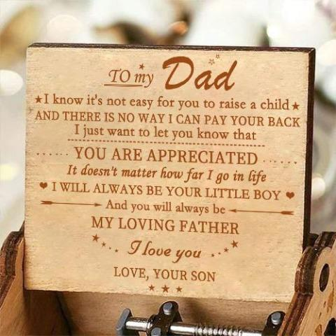 Son To Dad - My Loving Father - Engraved Music Box