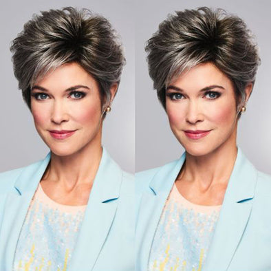 Natural Gradient Silver Gray Short Wig