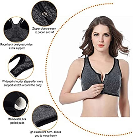Zip Front Yoga Sports Bra