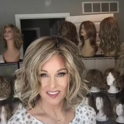 Brown mixed gold BOB roll wig