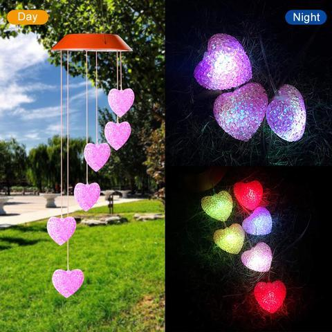 Solar Powered Crystal Heart Light