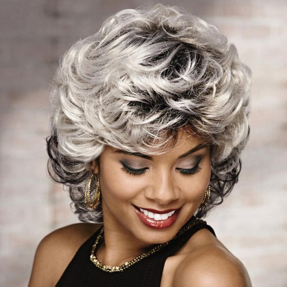 Gradient Silver/Back Mixed Black Roll Wig