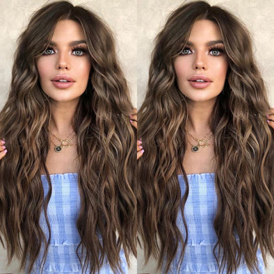 Dark Brown Wavy Long Wig