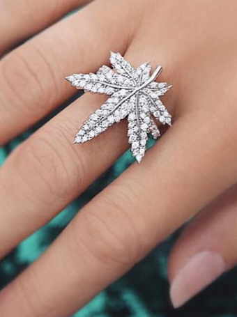 Cannabis Leaf Diamond Ring