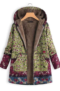 Women's Hooded Floral Print Jacket