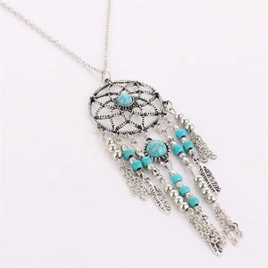 Vintage alloy blue turquoise necklace