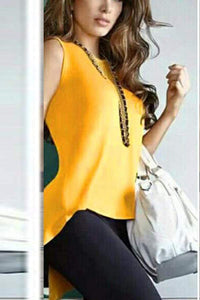 Fashion Plain Irregular Split T-Shirt