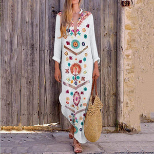 Maxi Dress for Women with long Sleeve V-Neck Floral Print White Casual Long Bohe Dress