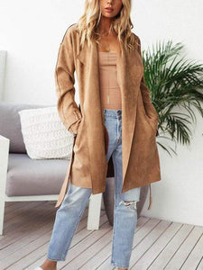 Fashion Lapel Suede Lace Up Cardigan