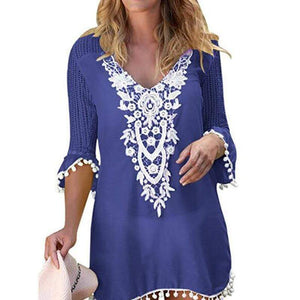 Fashion V Neck Hollow Out Splicing Halflong Sleeve Casual Dresses