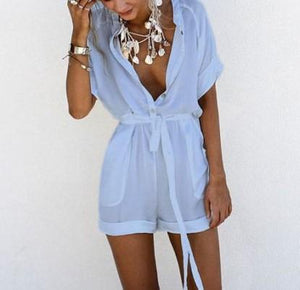 Fashion Solid Color   V-Neck Tie Jumpsuit