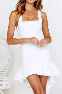 Women Cute Elegant High-Low Mini Dress