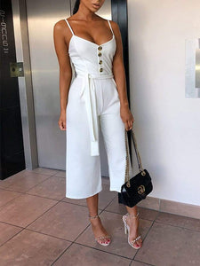 Fashion Sling Pure Colour Sleeveless Belted Jumpsuits