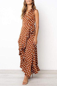 Fashion Wave Point Irregular Casual Maxi Dress