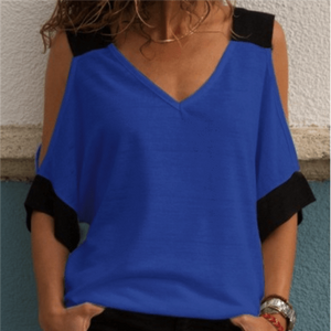 Fashion V Collar Short Sleeve T Shirt