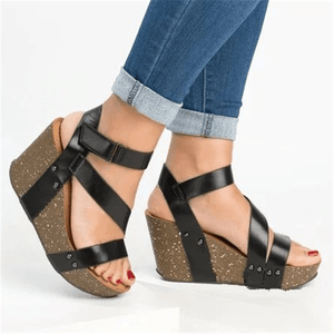 Fashion Velcro   Platform Wedge Sandals