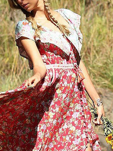 Bohemian Off-Shoulder Printed Colour Maxi Dresses