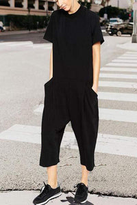 Fashion Pure Colour Short Sleeve Loose Jumpsuits