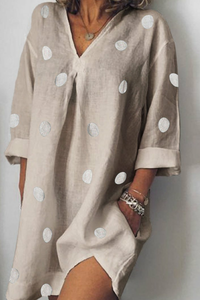Casual Polka Dot   Cotton Long Sleeve Top