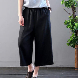 Leisure Pure Color Retro Loose Wide Leg Trousers