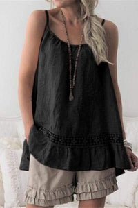 Fashion Sexy Lace Stitching Solid Color Hanging Bandwidth Loose Vests