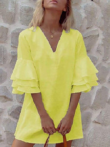 Commuting V Neck Bell Sleeve Pure Colour Bare Back Ruffled Dress
