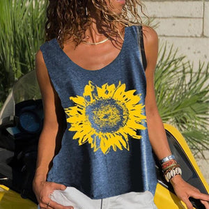 Casual Round Neck Printed Colour Printed Colour Tank Top