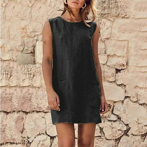 Round Neck Plain Sleeveless Cotton And Flax Dress