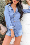 V-Neck Pure Color Long Sleeve Shirt Jean Jumpsuits