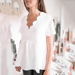 Elegant Lace Hollow Out Splicing Pleated Pure Colour Top