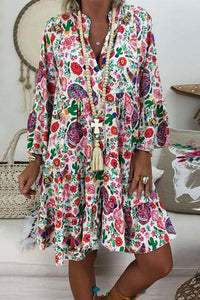 Cupseek Bohemian Stand Collar Floral Long Sleeve Ruffled Dress