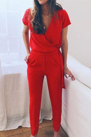 Dark V Collar Solid Color Women Jumpsuits