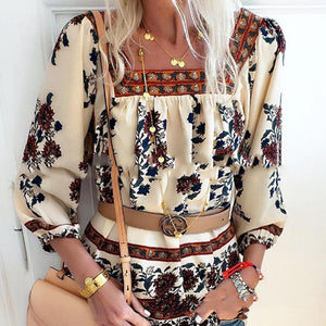 European And American Square Collar Printed Shirt