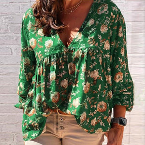 V-Neck Loose Printed Long Sleeve Women's Clothing