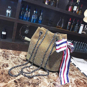 Fashion Color Block Knitting Bowknot Chain One Shoulder Bag