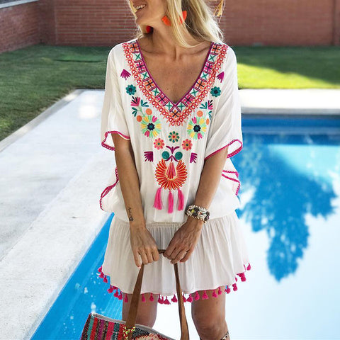 Bohemian V-Neck Embroidered Sleeve Tassel Dress