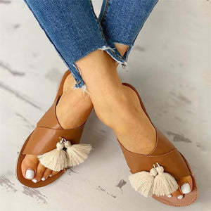 Fashion Fringe Decorated Antiskid Flat Bottom Slippers