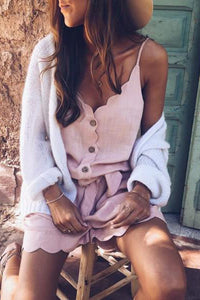 Fashion Buckle V-Neck Sling Sleeveless Strap Playsuit
