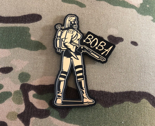 BOBA Gasgirl laser engraved plastic laminate gold limited edition patch. Size 90mm x 60mm.