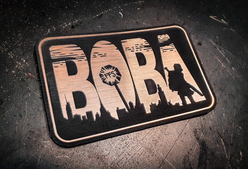 BOBA laser engraved plastic laminate gold brushed limited edition patch.