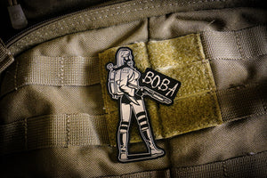 BOBA Gasgirl laser engraved plastic laminate silver limited edition patch. Size 90mm x 60mm.