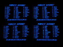 Load image into Gallery viewer, BOBA PHONETIC ALPHABET GLOW IN THE DARK PVC PATCH