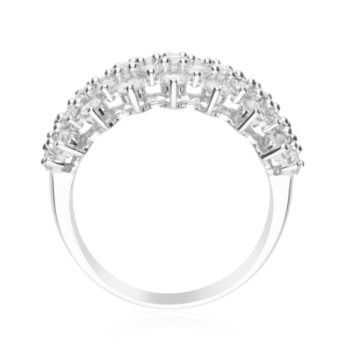 1.93 Carats Natural White Diamond (SI) 14K White Gold  Ring for Women