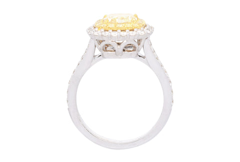 GIA Certified 2 Carat Yellow Diamond 18 Karat Two-Tone Engagement Ring for Women