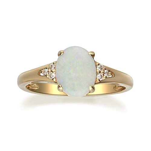 Gin & Grace 10K Yellow Gold Natural Diamond (I1,I2) & Australian Opal Anniversary Engagement Ring for Women