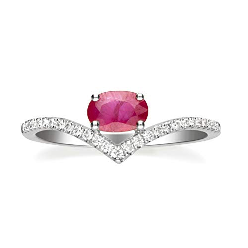 Gin & Grace Valentine's Jewelry 10K White Gold Genuine Ruby Diamond (I1,I2) Propose Promise Ring (Size 7) for Women
